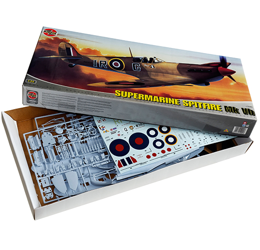 The classic 1/24th scale airfix Spitfre plastic scale model kit